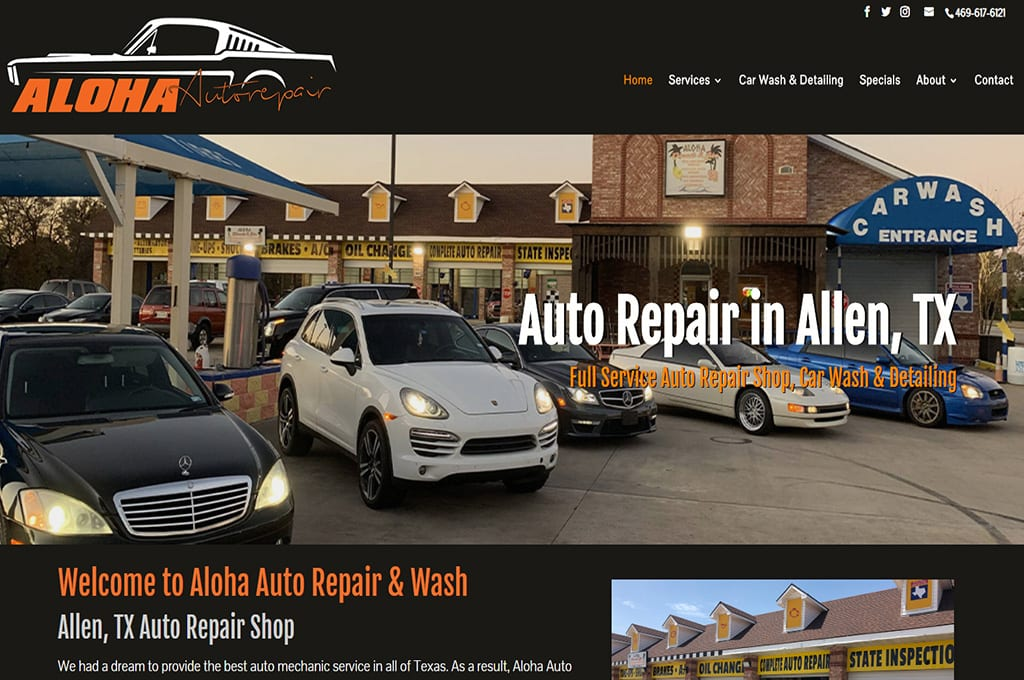 Aloha Auto Repair & Wash website preview